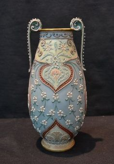 Signed Nippon Moriage Twin Handle Vase