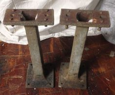 Industrial Cast Iron Table legs (set of 2) Pedestals or bases vintage green rare #UniqueTaperedstyle