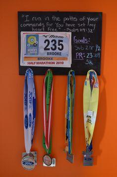 Chalkboard race bib/bling display