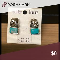 Fashion jewelry silver and turquoise earrings Turquoise and silver etched earrings fashion jewelry Jewelry Earrings