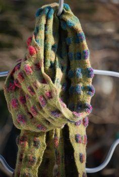 Handwoven Felted Wool Scarf by JenniferFiberDesign on Etsy #handweaversofetsy