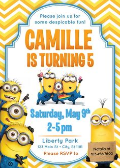 Despicable Me Minion Birthday Invitation by ckfireboots on Etsy