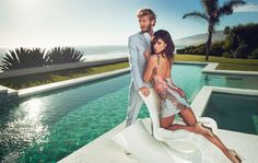 Marciano S/S '16 Campaign feat. Belén Rodríguez shot by Joseph Cardo Belen Rodriguez, Pool Fashion, Fashion Poses, Swimming Pool Photography, Couples Modeling, Luxe Clothing, Photoshoot Concept, Guess, Fashion Couple