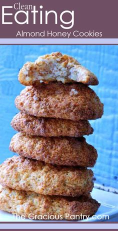 Clean Eating Almond Honey Cookies  Ingredients: 1-1/2 cups ground almonds 3/4 cup honey 4 egg whites Directions: In a large mixing bowl, beat egg whites until stiff peaks form. In a second bowl mix almonds and honey. Scoop nut mixture into the egg whites and fold until well mixed. do not over mix. The moment mixture is combined, stop mixing. Using a regular teaspoon directly onto parchment paper.Place in oven on lowest shelf at 350 for 10-15 minutes. Should be lightly brown when done.