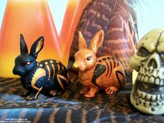 Halloween Set of Skeleton Bunnies by ShadyufoStudios on Etsy, $25.00