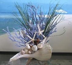 Seashell Coral Centerpiece-Beach Grass-Starfish-Driftwood Coastal Table Decor on Etsy, $75.00 by Naghma