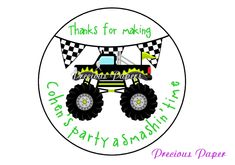 20 Personalized Monster Truck favor Stickers by mypreciouspaper, $5.25