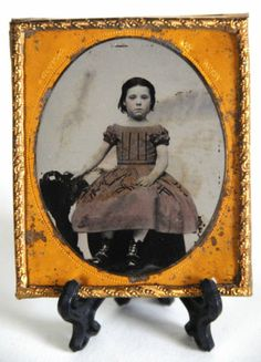 *Free Shipping* Precious Little Girl AMBROTYPE - ruby glass - sixth plate - civil war era TINTED