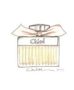 Chloe Pink Perfume Watercolor Fashion by StephanieJimenez on Etsy