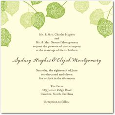 Lacy Leaves - Green - Unique Wedding Invitations, Unique, Shop By Theme, Wedding Invitations