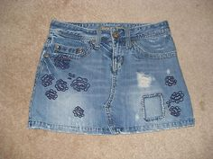 American Eagle Denim Jean Skirt sz 0 Tattered look