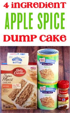 On the hunt for the perfect Fall dessert? This Apple Spice Dump Cake Recipe is e… On the hunt for the perfect Fall dessert? This Apple Spice Dump Cake Recipe is easy to make and SO delicious! It's the perfect end to tonight's dinner! Apple Dump Cake With Pie Filling, Spice Dump Cake Recipe, Apple Spice Cake, Dump Cake Recipes, Apple Cake, Recipe Spice, Spice Cake Mix Recipes, Recipe For Apple Dump Cake, Apple Cobbler Recipe With Cake Mix