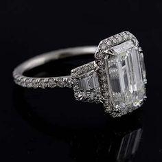 Platinum Micro Pave Cut Down Diamond Engagement Ring Mounting Halo Diamond Engagement Ring, Diamond Wedding Rings, Bridal Rings, Diamond Rings, Love Vintage, Vintage Stuff, Emerald Cut Rings, Emerald Diamond, Ringe Gold