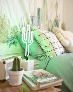 Caitpoli) dream rooms, dream bedroom, home bedroom, neon cactus, cactus Home Bedroom, Diy Bedroom Decor, Home Decor, Magical Bedroom, Modern Bedroom, Cactus Bedroom, Decoration Cactus, Led Neon, Neon Licht