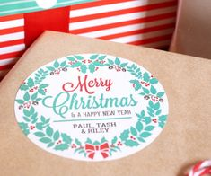 Merry Christmas Labels by Little Paper Sparrow Christmas Gift Tags Template, Christmas Wrapper, Free Printable Christmas Cards, Free Christmas Gifts, Personalised Christmas Cards, Holiday Gift Tags, Merry Christmas, Gift Labels, Printable Labels