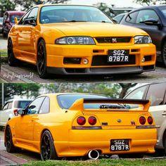 Yellow GT-R looks cool. Nissan Skyline R35, Nissan R33, R33 Gtr, Nissan Gtr Skyline, Japanese Domestic Market, Japanese Cars, Jdm Cars, Looks Cool, Dream Cars