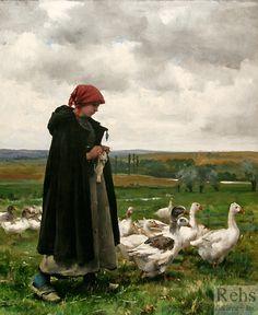Julien Dupré (1851 - 1910) Une gardienne d'oie, Huile sur toile, 65,5 × 54 cm, collection particulière.