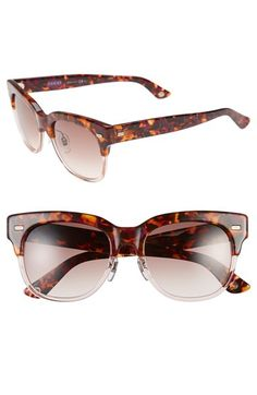 Free shipping and returns on Gucci 52mm Retro Sunglasses at Nordstrom.com. A bold brown line and a sharp, color-blocked design put a modern twist on these throwback sunglasses. Logo-etched temples are the subtle finishing touch.