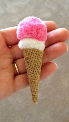 Ice cream pom poms with a burlap cone