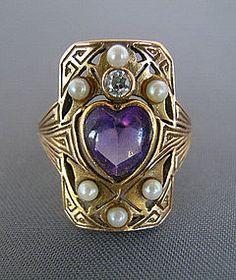 14K AMETHYST PEARL DIAMOND ARTS & CRAFTS RING