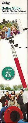 Vivitar Red Selfie Stick Extends up to 42 Inches Shutter Release Apple Android