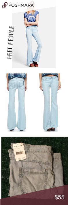 Free People Beryl Jeans Free People flare jeans gives you the trendy look that you will love. The Free People Mid Rise Flare Jeans (Beryl) has vintage, high-waist, zip fly with button closure design details. A light blue wash accentuates the vintage look of high-waisted flare jeans fashioned from supersoft lyocell denim. <3 tad wrinkled from storage Free People Pants