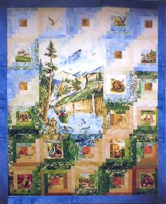 "Fisherman Log Cabin Quilt. This quilt is in ""Log Cabin Quilts"" by Rita Weiss. The sky fabrics are by Shades Textiles, the center panel and the animal prints used in the Log Cabin centers are long out of print but keep this kind of layout in mind when you see other outdoorsy panels.  http://www.frommarti.com/show_fisherman.shtml"