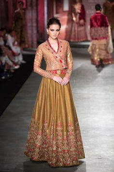 Anju Modi Manikarnika Collection Golden Embroidered #Lehenga With Jacket #Blouse At ICW 2014.