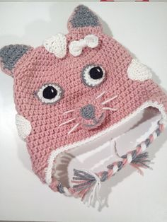 Pink Kitty Cat Hat Cat Hat Crochet Baby Hat Crochet Beanie