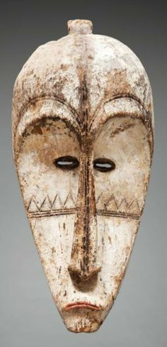 Africa | Mask from the Ngil society from the Fang people of Gabon/Equatorial Guinea | Wood with kaolin