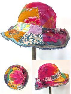 fc41f21fad811 Happy Hippie Upcycled Hat - made with recycled fabrics Hippie Hats, Boho  Ideas, Happy
