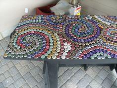 My Art/Projects: bottle cap countertop Bottle Top Tables, Bottle Top Art, Bottle Top Crafts, Bottle Cap Projects, Bottle Shop, Beer Cap Table, Mosaic Bottles, Plastic Bottle Caps, Beer Caps