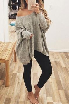 V Neck Long Sleeve Loose Sweater - Outfits with leggings Cute Outfits With Leggings, Cute Comfy Outfits, Casual Winter Outfits, Casual Fall Outfits, Spring Outfits, Trendy Outfits, Cool Outfits, Fashion Outfits, Casual Summer