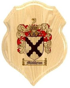 $34.99 Middleton Family Crest Plaque / Coat of Arms Plaque.  at www.4crests.com - Your family coat of arms on a thick, beveled edge 12 inch oak plaque.  Manufactured by: Family Crests Store Merchant SKU: middleton:plaque Thick Oak Family Crest Wall Plaque Great gift for anyone Family coat of arms / family crest printed in full color A great item for genealogy enthusiasts Hang on your home or office wall