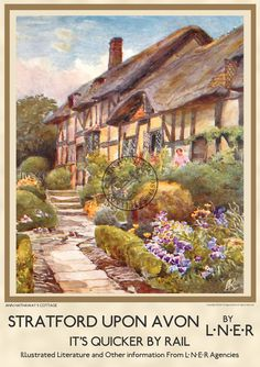 Stratford upon Avon Anne Hathaway's Cottage Vintage Railway Poster WALL ART Print Holiday Anne Hathaway's Cottage, Cottage Art, British Travel, Travel Uk, English Country Cottages, Stratford Upon Avon, Railway Posters, Stone Path, Garden Painting