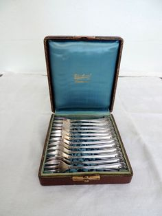 Oyster forks boxed set of 12 pastry forks by Frenchidyll on Etsy