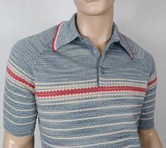 02ae2282 Vintage 1960's Men's DONEGAL Colesta SpaCe DYeD Mad Men Fitted Striped Knit  Shirt M