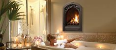 Modern luxury bathroom with stylish fireplace designs ideas, create a cozy bathroom with fireplace types and designs, how to put the fireplace in the bathroom interior 2015 Bathroom Fireplace, Cozy Bathroom, Modern Bathroom Tile, Bathroom Interior, Bathroom Ideas, Bathroom Designs, Bathroom Pics, White Bathroom, Bathroom Wall