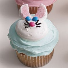 Strategically placed candies form a friendly rabbit face on these treats. Recipe: Easter Bunny Cupcakes   - Delish.com