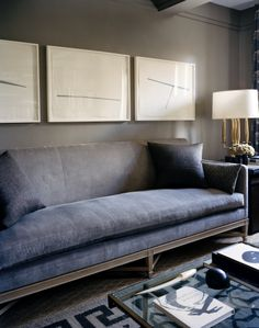 Modern Chic Living Room.....love the clean lines on the sofa.