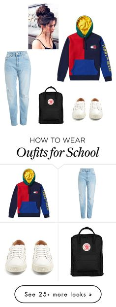 """school outfit nr 2"" by chiapaci on Polyvore featuring Tommy Hilfiger, Fjällräven and Aquazzura"