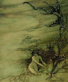 ✽ arthur rackham - 'rhine maiden lamenting'