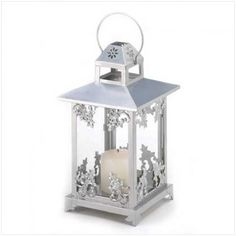 Silver Scrollwork Candle Lantern [39891 Silver Scrollwork Lantern] : Wholesale Wedding Supplies, Discount Wedding Favors, Party Favors, and Bulk Event Supplies
