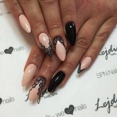 Nail Shapes - My Cool Nail Designs Beige Nails, Lace Nails, Lace Nail Art, Nail Art Design Gallery, Best Nail Art Designs, Almond Shape Nails, Almond Nails, Nails Shape, Super Nails