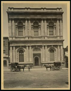 """National Bank on Collins St, in Although technically """"demolished"""", the facade actually lives on, facing Union House across the concrete lawns at Melbourne Uni as part of the architecture building Melbourne Suburbs, University Of Melbourne, Australian Continent, Banks Building, Historic Houses, Melbourne Victoria, Largest Countries, Historical Architecture, Melbourne Australia"""
