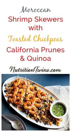 Moroccan Spiced Shrimp Skewers with Toasted Chickpeas, and California Prunes & Quinoa Salad Easy Dinner Recipes, Healthy Dinner Recipes, Healthy Snacks, Healthy Eating, Clean Eating, Health Recipes, Healthy Dinners, Shrimp Skewers, Shrimp Salad