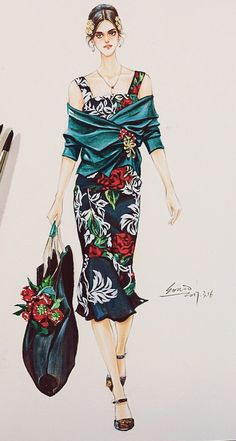 Dolce Gabbana by Fashion Design Sketchbook, Fashion Design Drawings, Fashion Sketches, Fashion Art, Girl Fashion, Fashion Illustration Dresses, Illustration Mode, Dress Sketches, Fashion Figures