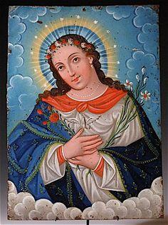 Mexican retablo on tin