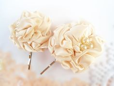 Flower Hair Pins Ivory Satin Fabric Flower Hair by nurichant, $14.50