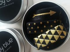Ruby Blue black and gold patterned hair ties, hand made, selling on The Boutique Collective www.theboutiquecollective.co.nz